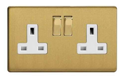 Varilight XDB5WS Screwless Brushed Brass 2 Gang Double 13A Switched Plug Socket